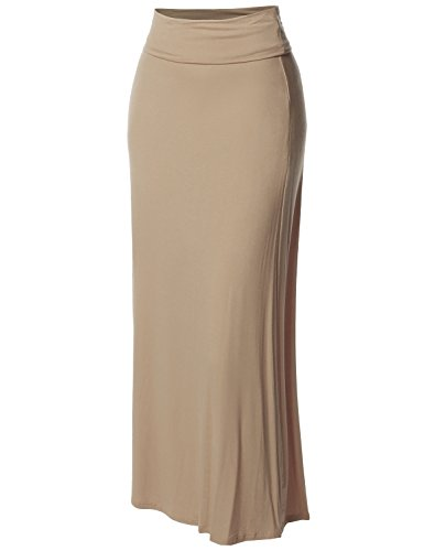 Womens Skirt Beige (Stylish Fold Over Flare Long Maxi Skirt - Made in USA Beige S)