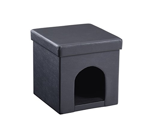 Hodedah Foldable Storage Ottoman Black
