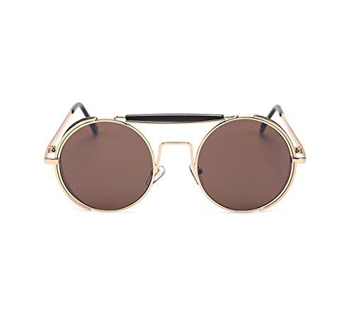 Steampunk round sunglasses for men and women retro personality double beam sunglasses (Silver frame Silver - Round Cartier Glasses
