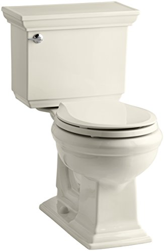 Kohler K-3933-47 Memoirs Comfort Height Two-Piece Round Front Toilet with Stately Design, Almond