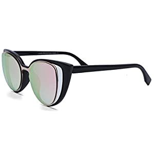 Retro Cat Eye Cut Out Lens Sunglasses (Black Frame & Mirrored Pink/Rose Gold Lens)