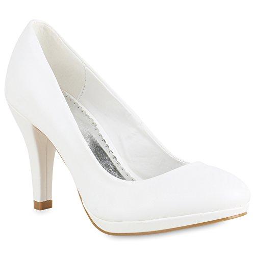 Stiefelparadies Klassische Damen Pumps Stiletto High Heels Leder-Optik Schuhe Flandell Weiß