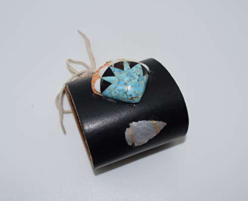 Authentic Native American Handmade Leather Bow Guard Bracelet Decorated with Genuine Spiny Oyster Shell Turquoise and Arrow Head
