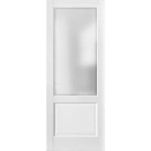 Lite Slab Barn Door Panel 36 x 80 | Lucia 22 Matte White with Frosted Opaque Glass | Sturdy Finished Wooden Modern Doors | Pocket Closet Sliding
