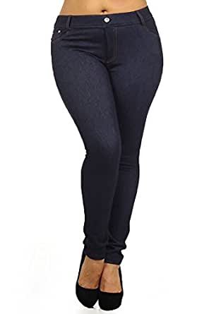 Yelete Womens Basic Five Pocket Stretch Jegging Tights Pants, Navy, Small