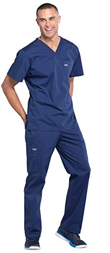 Cherokee WW675 & WW190 WW Professionals Men's Scrub Set - V-Neck Top & Tapered Leg Drawstring Cargo Pant, Navy, M-M
