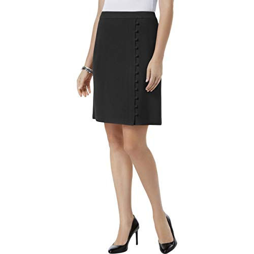 Nine West Women's Textured Crepe A-LINE WRAP Skirt Button Detail, Black, 10