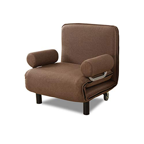 Sofa Bed Folding Convertible Sleeper Bed Chair,Full Padded Lounger Couch Bed for Guest(Coffee)