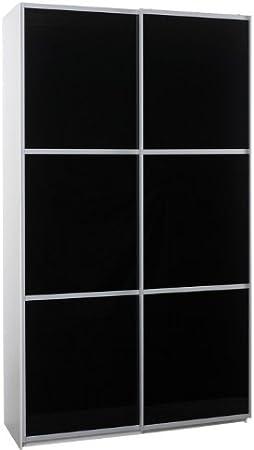 120 cm armario de puertas correderas puertas de cristal negro: Amazon.es: Hogar