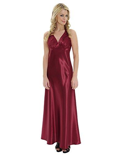 Charmeuse V-neck Floor - Elegant Red Satin Charmeuse Dress Nightgown V Neck Halter Gown Sizes: Large
