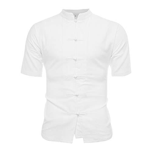 LUCAMORE Men's Solid Slim-Fit Short Sleeve Casual Linen Shirt Frog Button Lightweight Summer Tops White