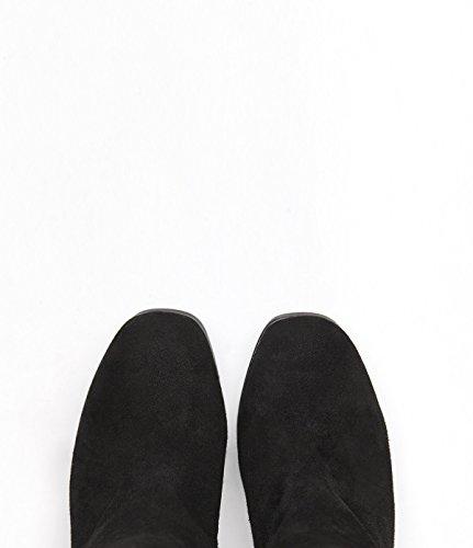 PoiLei Tara - chaussure femme / bottines en cuir à talon haut epais - compensé avec bout rond / du style des années septante 70 noir