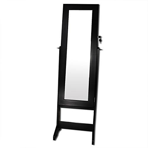 Schmuckschrank Spiegelschrank Standspiegel Spiegel Schrank Schmuck Schmuckkasten Schwarz -