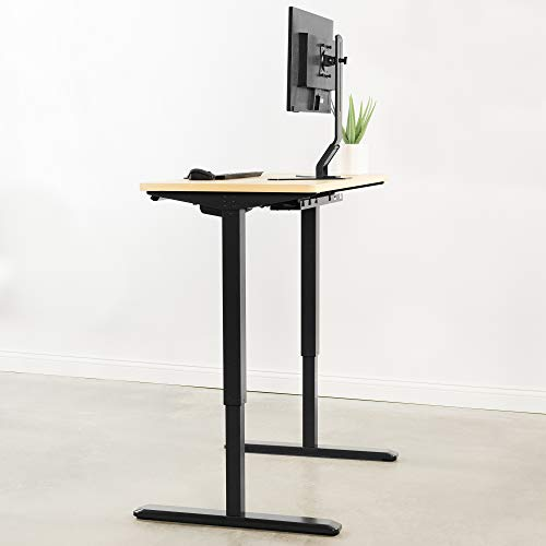 VIVO Electric 43 x 24 inch Stand Up Desk, Light Wood Solid One-Piece Table Top, Black Frame, Height Adjustable Standing Workstation with Memory Preset Controller (DESK-KIT-1B4C)