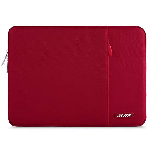 MOSISO Laptop Sleeve Bag Compatible with 13-13.3 inch MacBook Pro, MacBook Air, Notebook Computer, Vertical Style Water Repellent Polyester Protective Case Cover with Pocket, Red (Red Macbook Pro Sleeve)