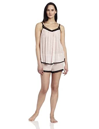 Oscar de la Renta Pink Label Women's Le Petit Dot Cami Pajama Set, Pink, Medium