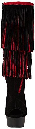 Botas Pleaser Suede Mujer negro blk 2059tt Matte blk red Delight Negro g6Fxw6En
