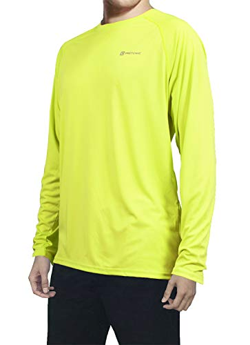 (Pretchic Men's UPF 50+ UV Sun Protection Long Sleeve Outdoor T Shirt Yellow XL)
