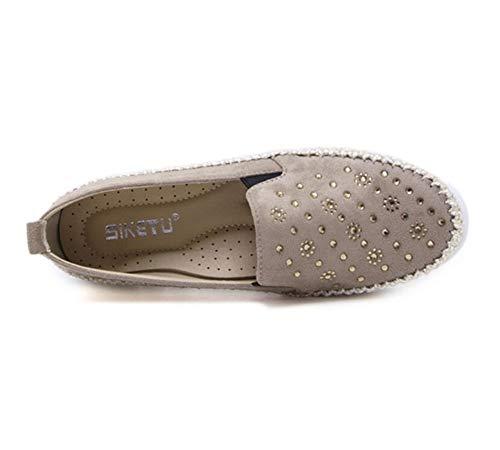 Loafer Espadrilles Confort Daim On Qzx Plate Noir Beige Conduite Casuel Slip Loafers Mocassins Chaussures Cuir Femme aBxvfd
