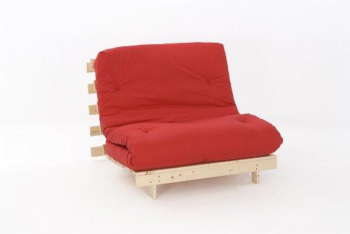 Comfy Living 3ft LUXURY Single (90cm) Wooden Futon Set PREMIUM LUXURY Red Mattress