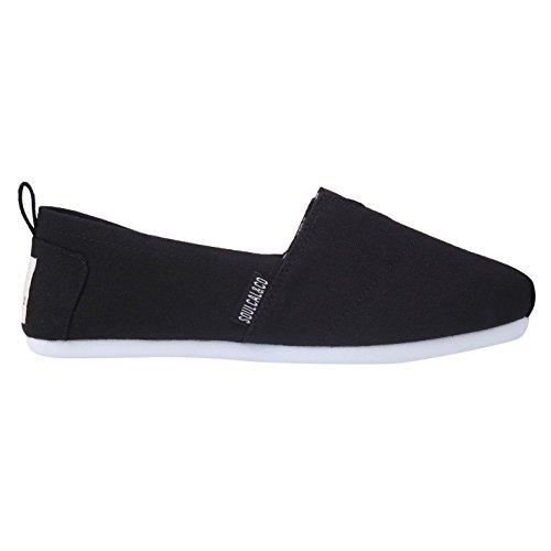 Soulcal Femmes Plage Longue Dames Toile Slip Sur Chaussures Chaussures Légères Noir