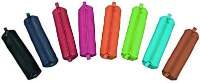 Alassio 43145 - Schlamperrollen Set mit 8 Stück, farblich Sortiert, Stifteetuis aus Leder, Schlamperetuis je ca. 21 x 6 cm, Schlampermäppchen rund, Faulenzer für Schreibgeräte