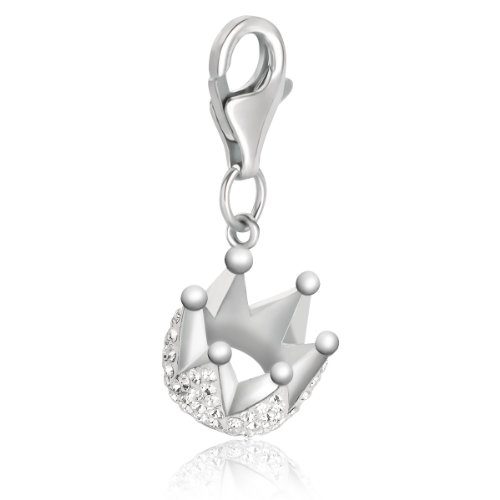 Sterling Silver Crown Charm with White Tone Crystal Embellishments ()