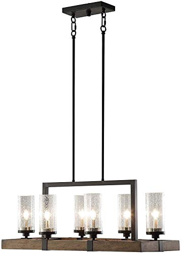 Cheap Vineyard Rustic Style 6-Light Glass Fixture Metal And Wood Ceiling Chandelier .#GH45843 3468-T34562FD589272