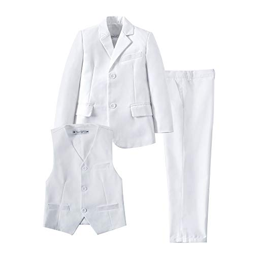 YuanLu White Suit for Boys Toddler Kid Tuxedo First Communion Suits with Blazer Vest and Dress Pants Size 10
