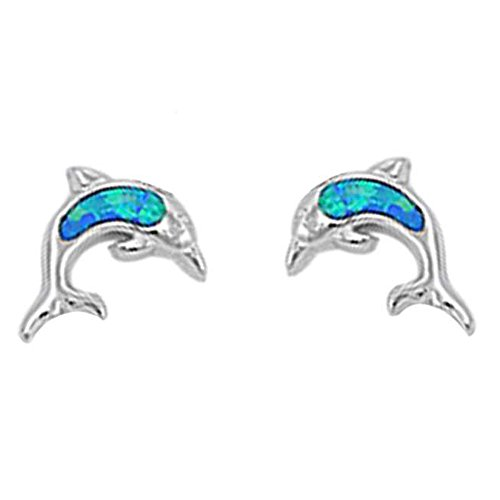 Blue Dolphin Earrings - Cute Lab Created Opal Dolphin Stud .925 Sterling Silver Earrings COLORS AVAILABLE (Lab Created Blue Opal)