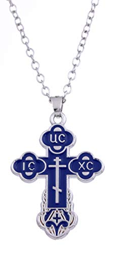 Dawapara Religious Christian Orthodox Bud Cross Jesus Christ Charm Pendant Necklace Jewelry for Women Mens (Blue, Silver Tone Link Chain) (Chain Link Tone Silver)