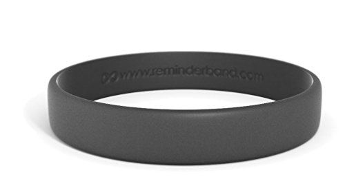 Reminderband Classic Custom Silicone Wristband/Personalized Silicone Bracelet/Rubber Bracelet (Black, Large)