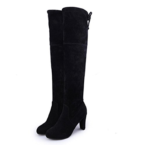 Fheaven Women Stretch Faux Slim High Warm Boots Over The Knee Boots High Heels Shoes (US:6, Black)