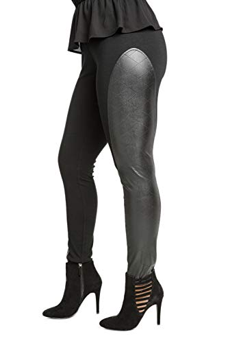 Poetic Justice Curvy Women's Black Diamond Perforated Vegan Leather Moto Legging Size Large