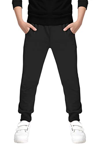 - Boys' Winter Fleece Lined Thermal Cotton Jogger Pants Sweatpants for Kids Boys, Black, Age 7T-8T (7-8 Years) = Tag 140