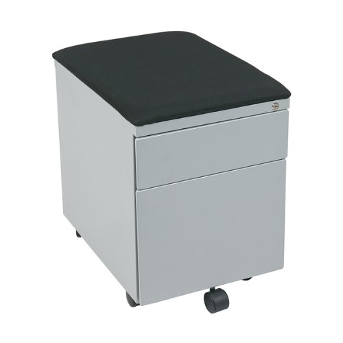 OSP Furniture BXPMC22BF-GY-osp Mobile File with Padded Seat, Black Fabric, Grey Frame