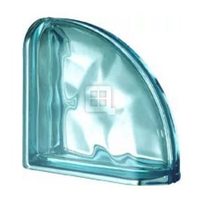 Quality Glass Block 7.5 x 7.5 x 3 Pegasus Metalized Aquamarine Wave Double End Block Glass Block Seves Glass Block