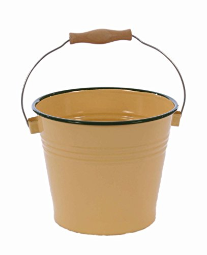 BUTTER YELLOW WITH GREEN TRIM ENAMELWARE BUCKET/PAIL, WITH HANDLE-7.5 INCHES HIGH 9 INCHES IN DIAMETER