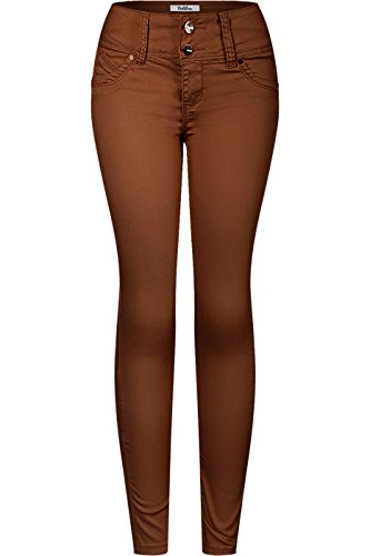 2LUV Women's 2 Button Stretchy Butt Lift Skinny Color Colombian Jean Camel 11