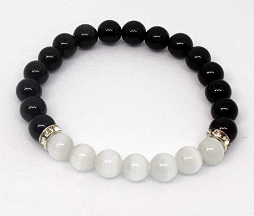 (Natural Black Obsidian Crystal Bracelet-Chakra Healing Selenite Agate for Energy Balancing)
