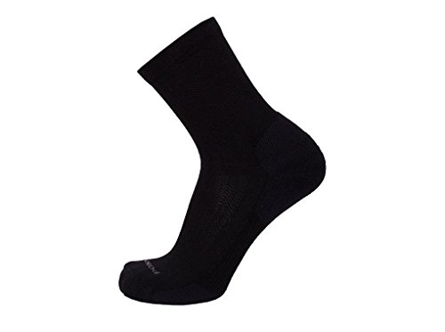 Point6 Active Life, Extra Light 3/4 Crew sock - X Large, Black with a Helicase sock ring