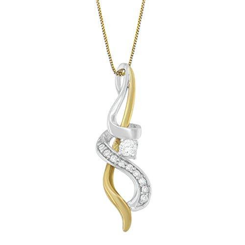 Espira 10K Two-tone Gold Diamond Pendant Necklace (1/5 cttw, J-K Color, I2-I3 (14kt Gold Diamond Name Pendant)