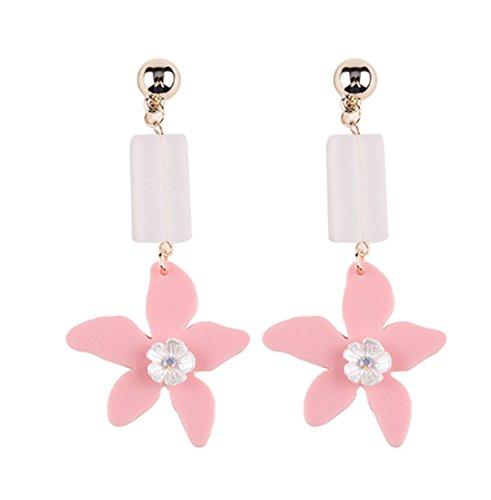 primerry Fresh and Elegant Fashion Acrylic Flowers Ear Hook Earrings (Pink)
