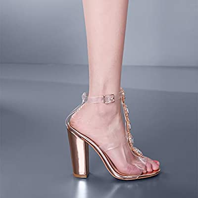3e34add560594 Cdvintu Womens Cutout Gem Clear Chunky Heels Gladiator Transparent ...