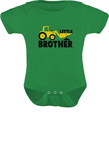 Tstars TeeStars - Little Brother Baby Shower Gift Tractor Loving Boys Baby Bodysuit 12M Green (Green Tractor Little)