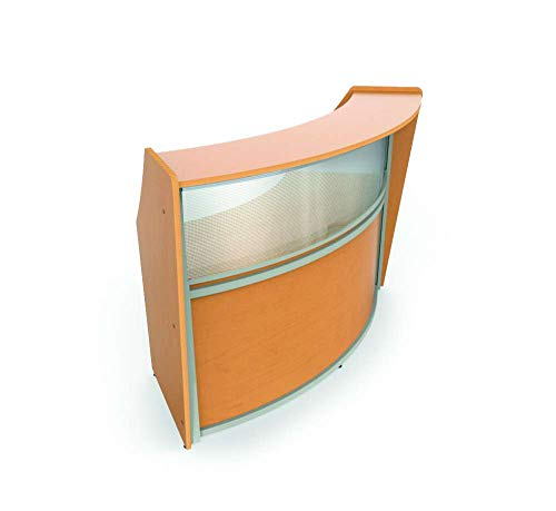 Linea Italia Curved Reception Desk, Single Unit, Clear Panel, Maple Laminate, Modern Office Lobby, Perfect for Small Spaces, Receptionist, Secretary ()