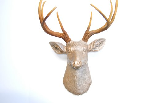 Near & Deer Eight Point Faux Deer Mount Hunting Trophy, Animal Decorations Apartment Art, Caramel Latte Coat with Natural Brown Antler Rack