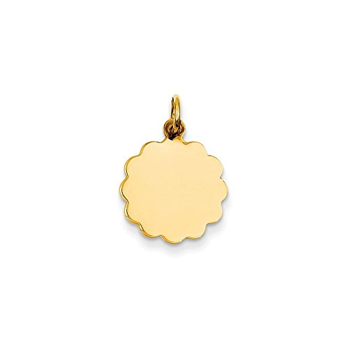(Mireval 14k Yellow Gold .027 Gauge Engravable Scalloped Disc Charm (13 x 20 mm))