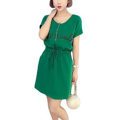 PU&PU Robe Aux femmes Ample Street Chic,Imprimé Col Arrondi Au dessus du genou Coton , green , 2xl