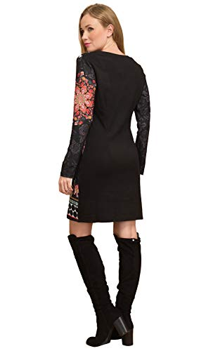 Noir Manches Imprimée Femme Longues Robe 101 Idees IwWYEqICS8